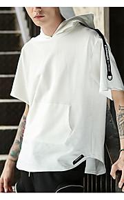 Hombre Chic de Calle Camiseta, Con Capucha Letra Blanco L / Manga Corta