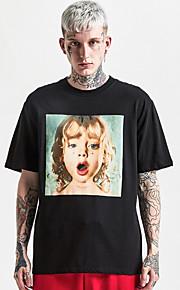 男性用 プリント Tシャツ ストリートファッション ポートレート