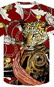 Ανδρικά T-shirt Κλαμπ Βασικό / Κομψό στυλ street Συνδυασμός Χρωμάτων / Ζώο Στρογγυλή Λαιμόκοψη Στάμπα Ρουμπίνι XXL / Κοντομάνικο / Καλοκαίρι