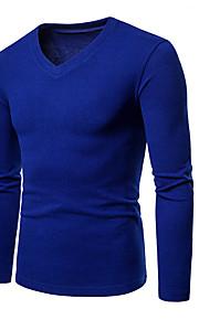 Ανδρικά T-shirt Βασικό / Κομψό στυλ street Μονόχρωμο Λαιμόκοψη V Σκούρο γκρι L / Μακρυμάνικο