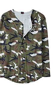 Herrn camuflaje - Grundlegend T-shirt, V-Ausschnitt Braun L / Langarm