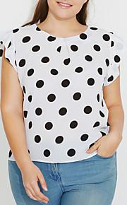 여성용 도트무늬 버터플라이 소매 플러스 사이즈 프린트 - 블라우스 네이비 블루 XXXL / 여름 / 주름장식
