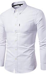 Hombre Básico Algodón Camisa Delgado Un Color Negro XXXL / Manga Larga