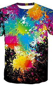 Hombre Básico / Exagerado Estampado Camiseta, Escote Redondo Galaxia / 3D / Caricatura Arco Iris XL / Manga Corta / Verano