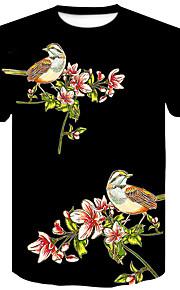 Ανδρικά T-shirt Κλαμπ Βασικό / Κομψό στυλ street Φλοράλ / Ζώο Στρογγυλή Λαιμόκοψη Στάμπα Μαύρο XXL / Κοντομάνικο / Καλοκαίρι
