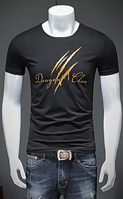 Ανδρικά T-shirt Κομψό στυλ street Γράμμα Στρογγυλή Λαιμόκοψη Λευκό XL / Κοντομάνικο