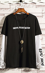 Hombre Chic de Calle Camiseta, Escote Redondo Letra Blanco XXXL / Manga Larga