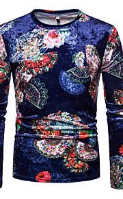 Муж. С принтом Футболка Круглый вырез Геометрический принт / Контрастных цветов Тёмно-синий L / Длинный рукав