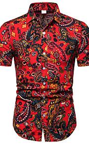 Hombre Negocios / Chic de Calle Discoteca Talla EU / US Estampado - Lino Camisa, Cuello Inglés Bloques Rojo XXXL / Manga Corta
