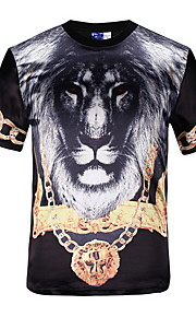 男性用 プリント Tシャツ ストリートファッション 動物