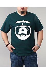 男性用 プラスサイズ Tシャツ ラウンドネック スリム カートゥン / 半袖