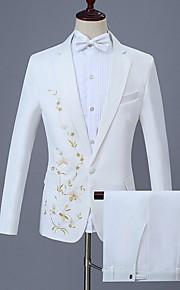 男性用 スーツ, フラワー ピーターパンカラー ポリエステル ホワイト XXL / XXXL / XXXXL