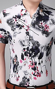 メンズスリムシャツ - 花柄シャツの襟