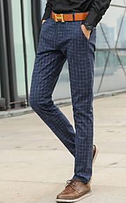 男性用 ストリートファッション チノパン パンツ - 千鳥格子 ブルー
