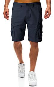 Erkek Askeri Pamuklu Şortlar / Kargo pantolon Pantolon - Solid Siyah