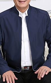 男性用 日常 春 レギュラー ジャケット, ソリッド スタンド 長袖 ポリエステル ブラック / ネイビーブルー / ワイン XL / XXL / XXXL