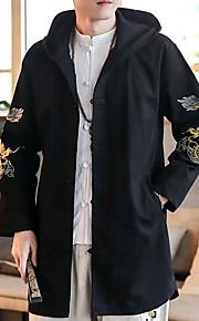 男性用 日常 秋 ロング トレンチコート, 幾何学模様 フード付き 長袖 コットン ホワイト / ブラック XXXL / XXXXL / XXXXXL