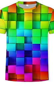 Miesten Pyöreä kaula-aukko Puuvilla Painettu Geometrinen / Color Block / 3D T-paita Sateenkaari XL