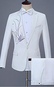 男性用 スーツ, フラワー ピーターパンカラー ポリエステル ブラック / ルビーレッド / ネービーブルー XXL / XXXL / XXXXL