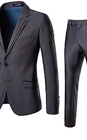 男性用 スーツ, ソリッド ノッチドラペル ポリエステル グレー XXXL / XXXXL / XXXXXL