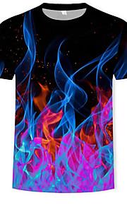 Miesten Pyöreä kaula-aukko Puuvilla Painettu Color Block / 3D T-paita Musta XXXXL