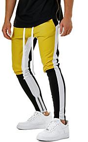 男性用 ストリートファッション チノパン パンツ - カラーブロック イエロー