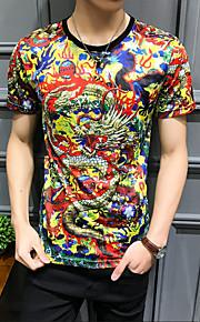 男性用 プラスサイズ Tシャツ ラウンドネック スリム 動物 コットン
