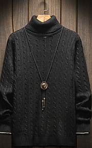 Муж. Однотонный Пуловер Осень Красный / Серый / Хаки XXXL / XXXXL / XXXXXL