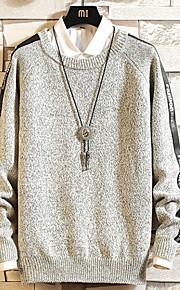 Муж. Однотонный Пуловер Осень Темно синий / Винный / Светло-серый XXXL / XXXXL / XXXXXL