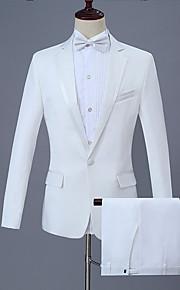 男性用 スーツ, ソリッド ピーターパンカラー ポリエステル ホワイト / ブラック XXL / XXXL / XXXXL