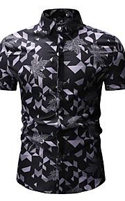 男性用 プリント シャツ ベーシック 幾何学模様 / カラーブロック