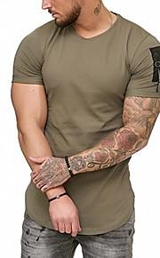 男性用 パッチワーク Tシャツ ソリッド / カラーブロック