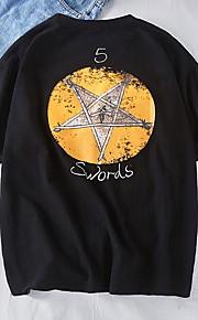 男性用 EU / USサイズ Tシャツ ラウンドネック 幾何学模様