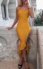 Жен. Классический Оболочка Платье - Однотонный Ассиметричное