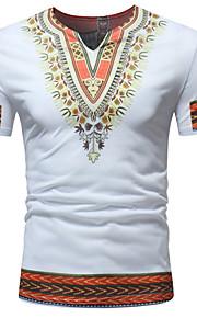 Ανδρικά T-shirt Βαμβάκι Tribal Λαιμόκοψη V Λεπτό Κεντητό / Στάμπα Θαλασσί L