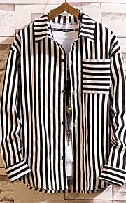 メンズプラスサイズのコットンシャツ - ストライプスクエアネック