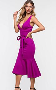 Жен. Классический Облегающий силуэт Оболочка Платье - Однотонный Средней длины