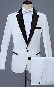 Hombre trajes, Un Color Solapa de Pico Poliéster Blanco XXL / XXXL / XXXXL