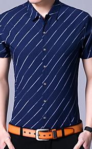 Heren Overhemd Gestreept blauw XL
