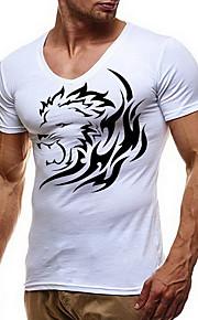 Camiseta de algodón para hombre con estampado animal y cuello.