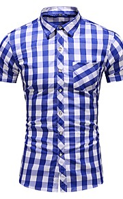 Heren Overhemd Ruitjes blauw XXXXL
