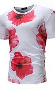 Ανδρικά T-shirt Φλοράλ Λευκό XL