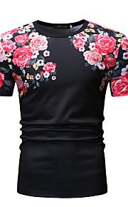 T-skjorte Herre - Blomstret Hvit XL