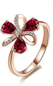 Dámské Bílá Band Ring Prsten Boxer Pokovená platina Růže pozlacená Umělé diamanty Botanický motiv stylové Jednoduchý Evropský korejština Elegantní Fashion Ring Šperky Růžové zlato Pro Svatební Dar