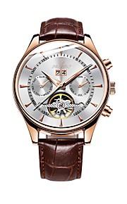 Pánské mechanické hodinky Automatické natahování Kůže Černá / Hnědá 30 m Kalendář Analogové Na běžné nošení - Modrá Zlatá / bílá Černá / Růžové zlato