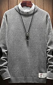 Муж. Однотонный Пуловер Черный / Серый / Светло-коричневый XXXL / XXXXL / XXXXXL