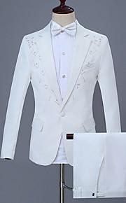 Hombre trajes, Floral Solapa de Muesca Poliéster Blanco XXL / XXXL / XXXXL