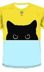 Hombre Estampado Camiseta Bloques / 3D / Animal Amarillo XXXXL
