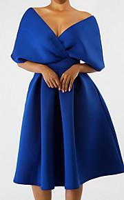 Жен. Тонкие Рубашка Платье Оборки V-образный вырез До колена
