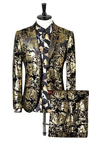 Hombre trajes, Cachemir Solapa de Pico Poliéster Dorado XXXL / XXXXL / XXXXXL